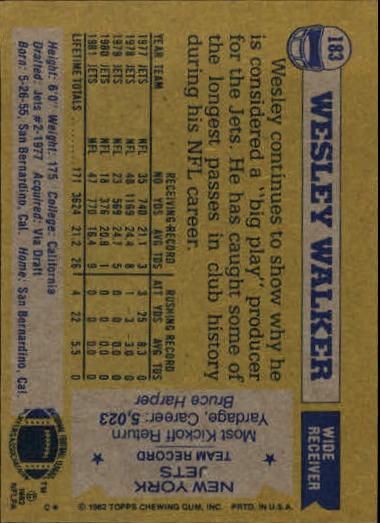 1982 Topps #183 Wesley Walker back image