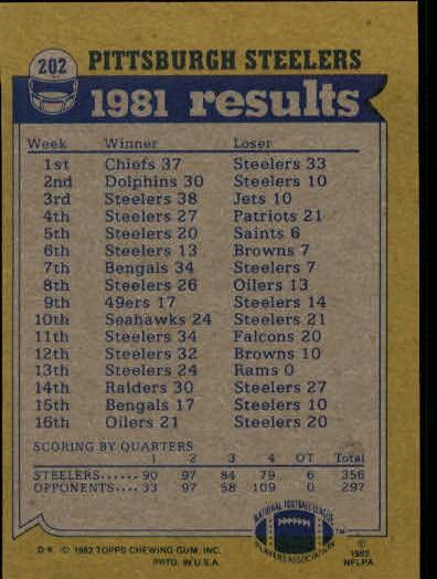 1982 Topps #202 Pittsburgh Steelers TL/Franco Harris/John Stallworth/Mel Blount/Jack Lambert/Gary Dunn back image