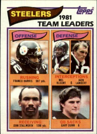 1982 Topps #202 Pittsburgh Steelers TL/Franco Harris/John Stallworth/Mel Blount/Jack Lambert/Gary Dunn