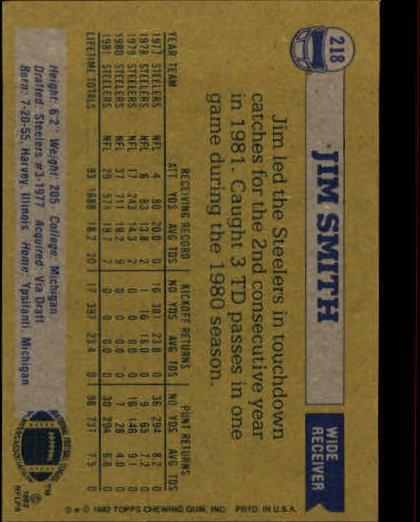 1982 Topps #218 Jim Smith back image