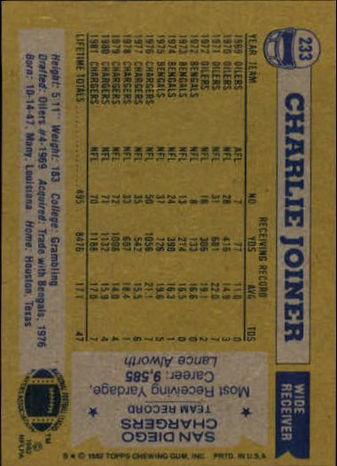 1982 Topps #233 Charlie Joiner back image