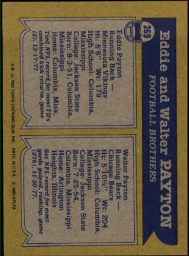 1982 Topps #269 Walter/Eddie Payton back image