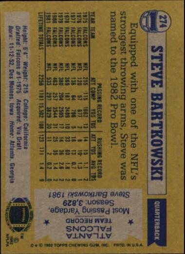 1982 Topps #274 Steve Bartkowski back image