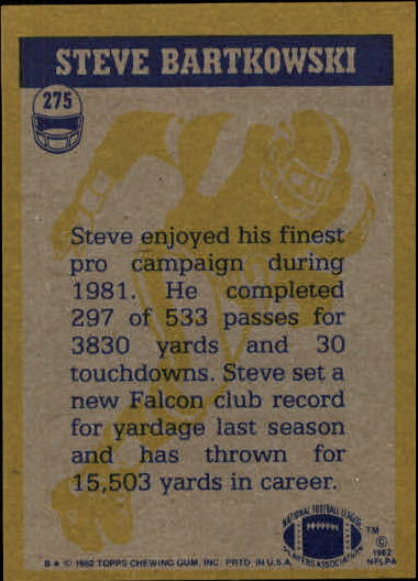 1982 Topps #275 Steve Bartkowski IA back image