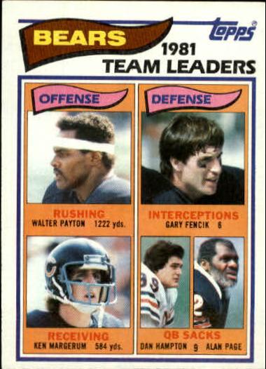 1982 Topps #292 Chicago Bears TL/Walter Payton/Ken Margerum/Gary Fencik/Dan Hampton/Alan Page
