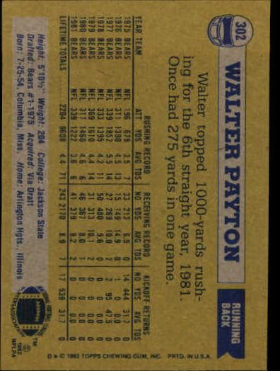 1982 Topps #302 Walter Payton back image