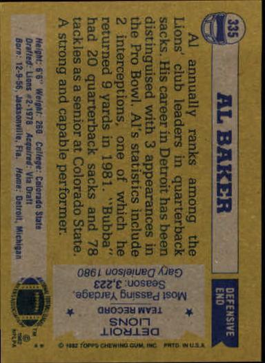 1982 Topps #335 Al(Bubba) Baker back image