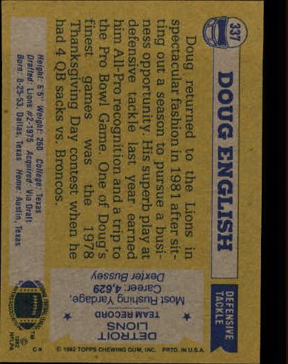 1982 Topps #337 Doug English back image