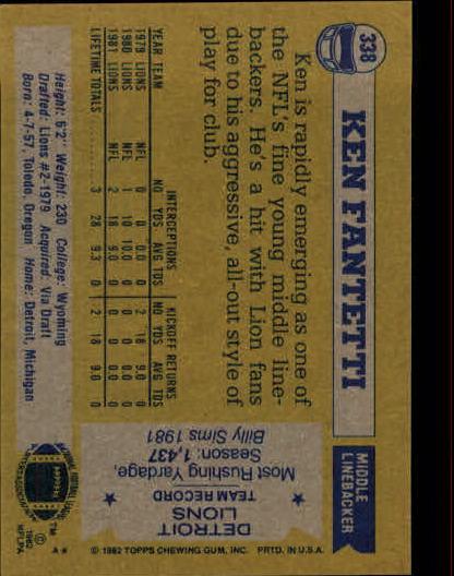 1982 Topps #338 Ken Fantetti back image