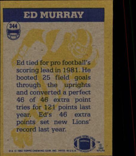 1982 Topps #344 Ed Murray IA back image