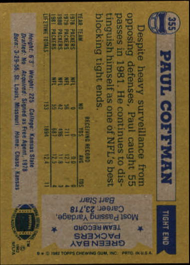 1982 Topps #355 Paul Coffman back image