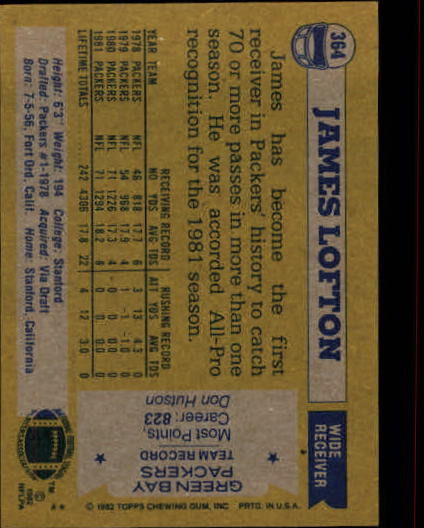 1982 Topps #364 James Lofton AP back image