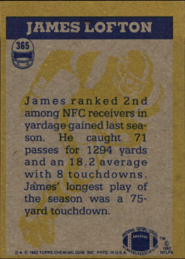 1982 Topps #365 James Lofton IA back image