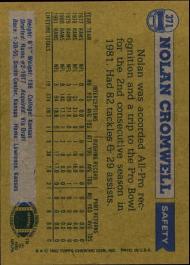 1982 Topps #371 Nolan Cromwell AP back image