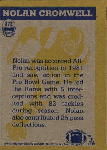 1982 Topps #372 Nolan Cromwell IA back image