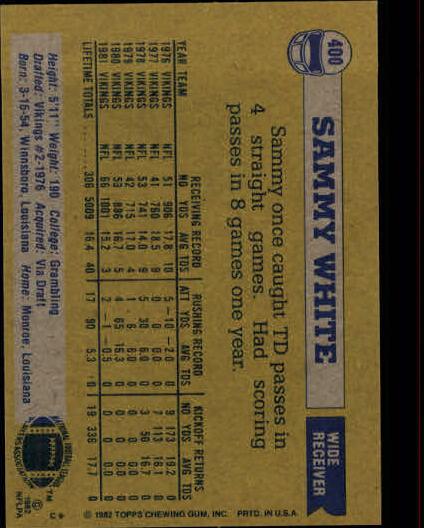 1982 Topps #400 Sammie White back image