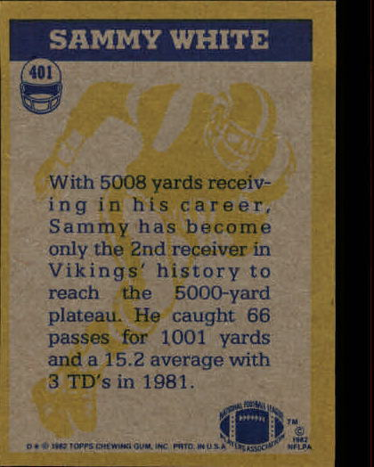 1982 Topps #401 Sammie White IA back image