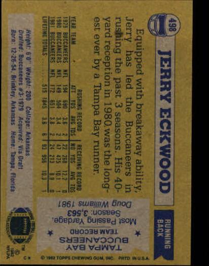 1982 Topps #498 Jerry Eckwood back image