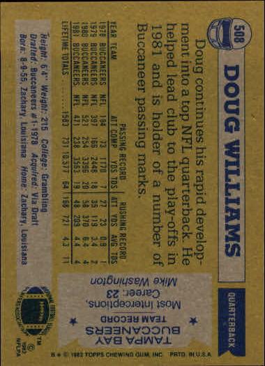 1982 Topps #508 Doug Williams back image