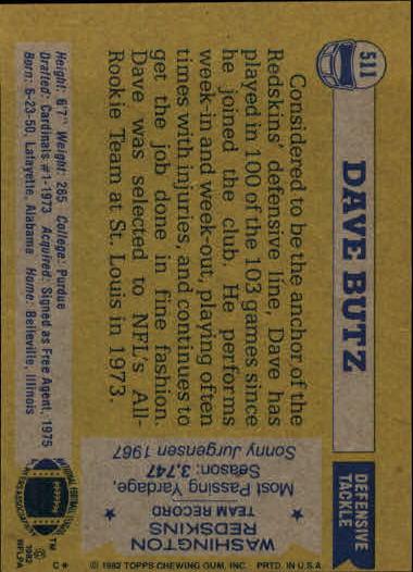 1982 Topps #511 Dave Butz back image