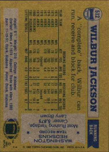 1982 Topps #512 Wilbur Jackson back image