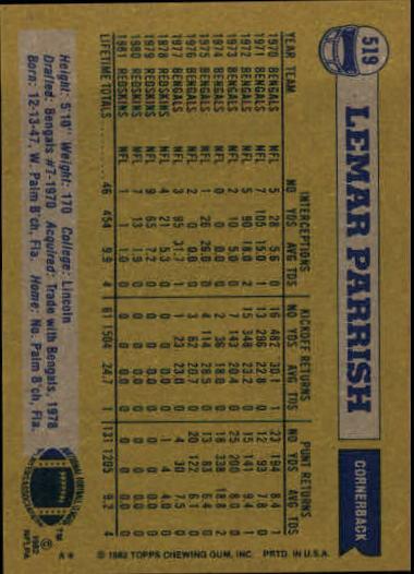 1982 Topps #519 Lemar Parrish back image