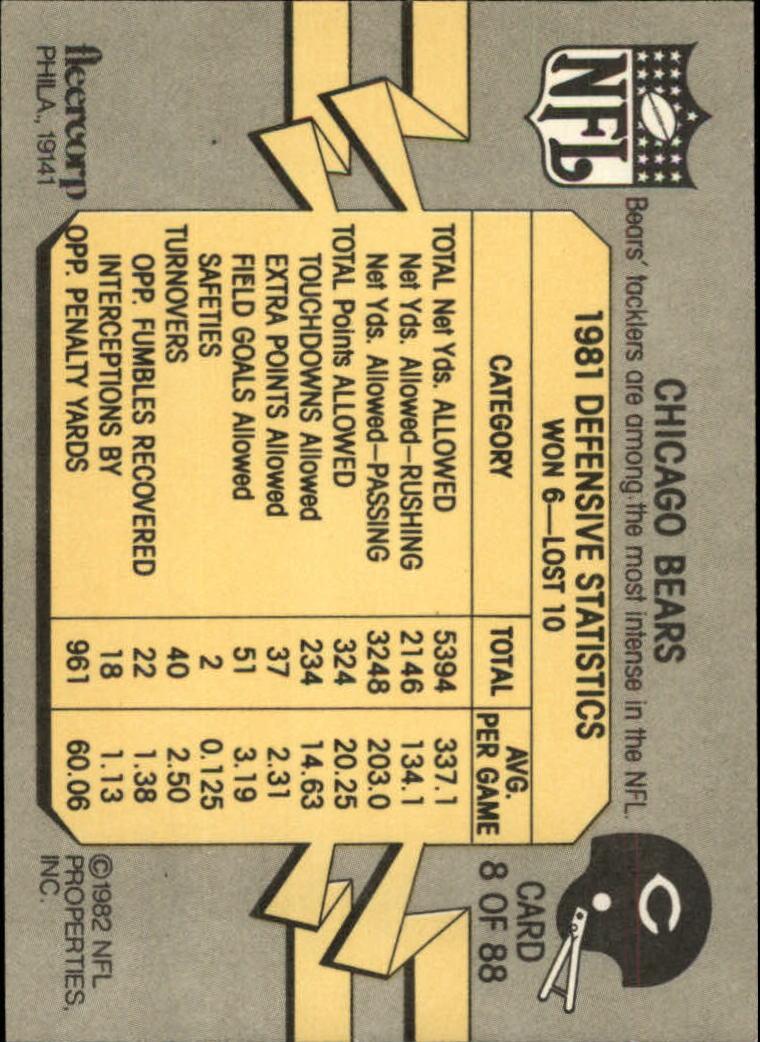 1982 Fleer Team Action #8 Chicago Bears back image