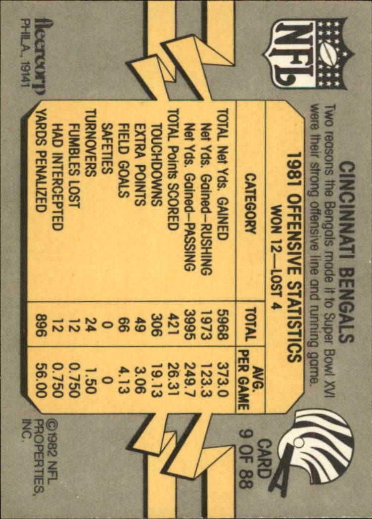 1982 Fleer Team Action #9 Cincinnati Bengals back image