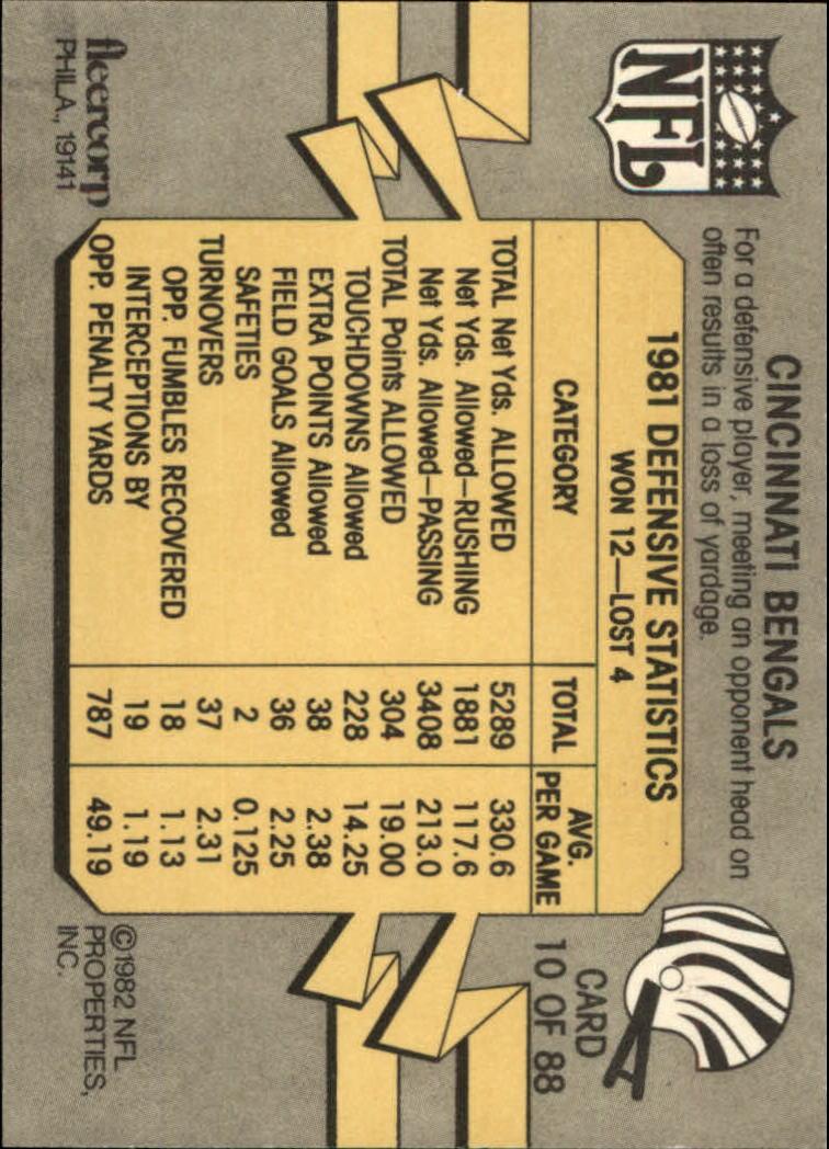 1982 Fleer Team Action #10 Cincinnati Bengals back image