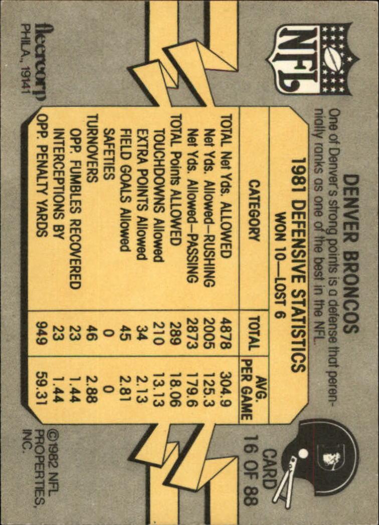 1982 Fleer Team Action #16 Denver Broncos back image