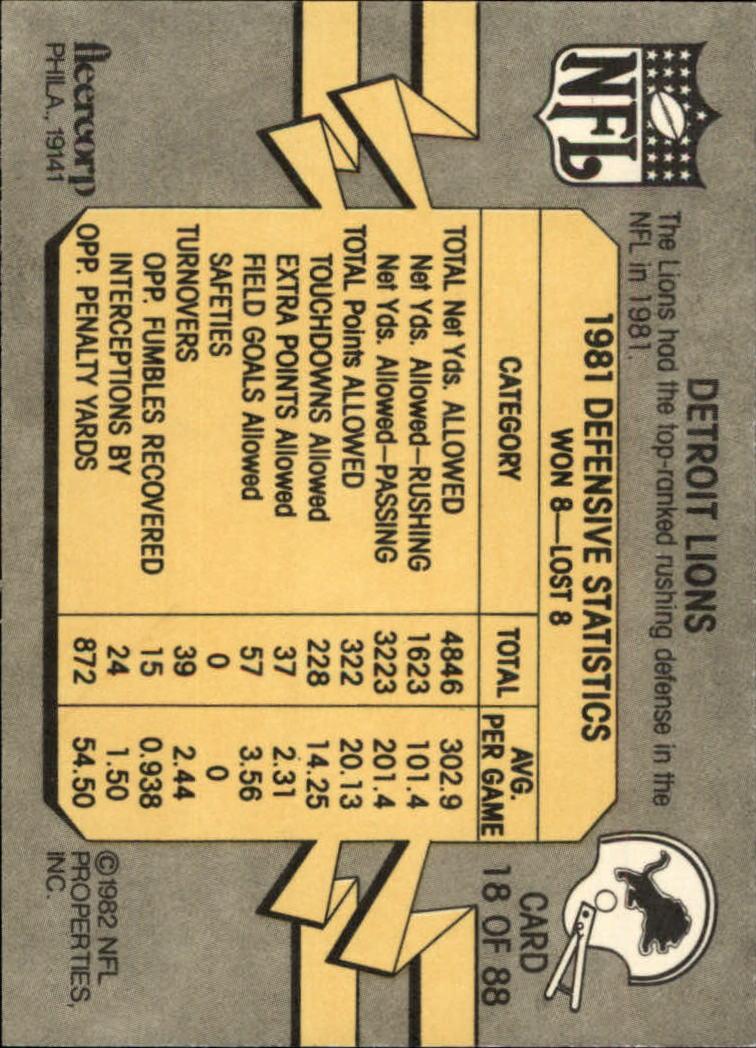 1982 Fleer Team Action #18 Detroit Lions back image