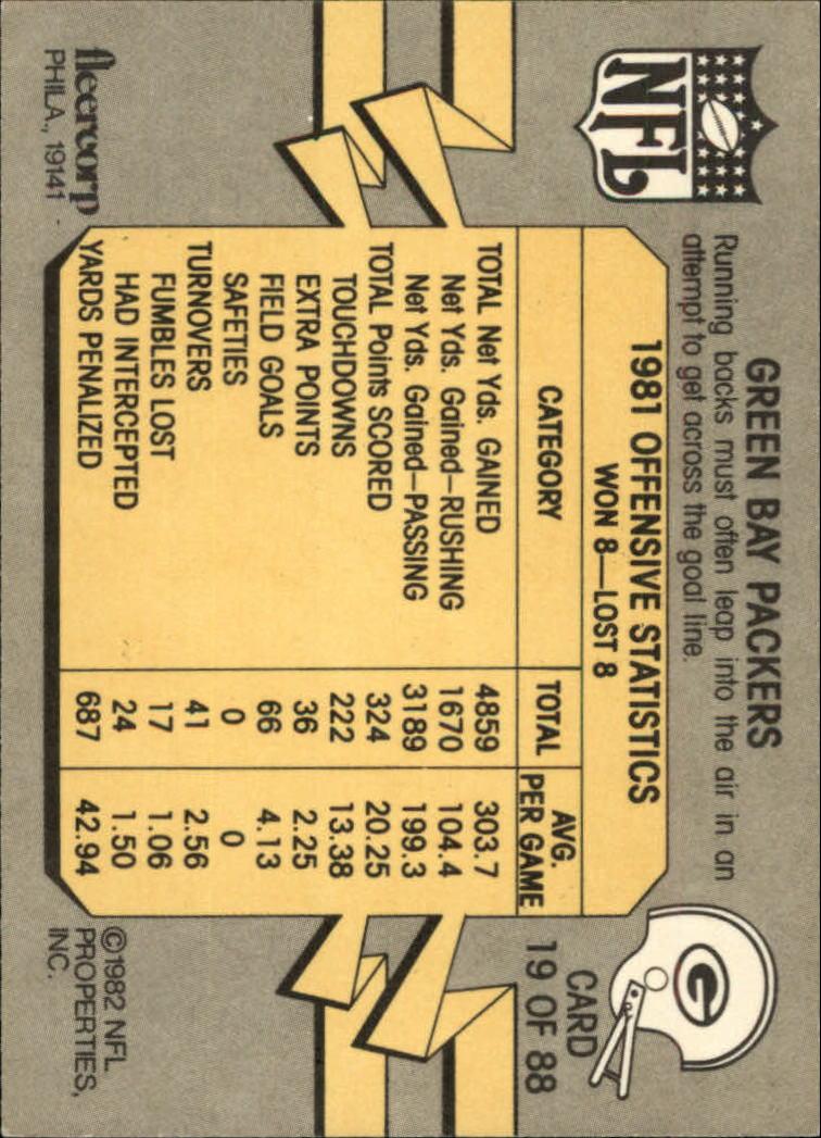 1982 Fleer Team Action #19 Green Bay Packers back image