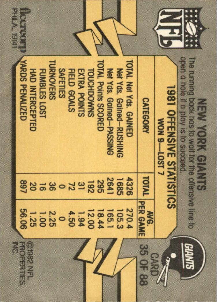 1982 Fleer Team Action #35 New York Giants back image