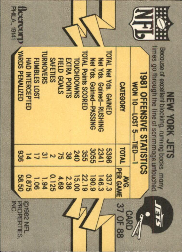 1982 Fleer Team Action #37 New York Jets back image
