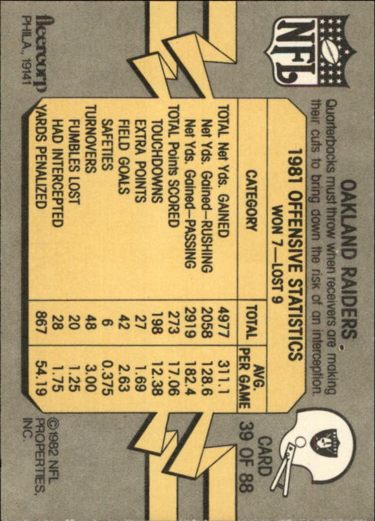 1982 Fleer Team Action #39 Oakland Raiders back image