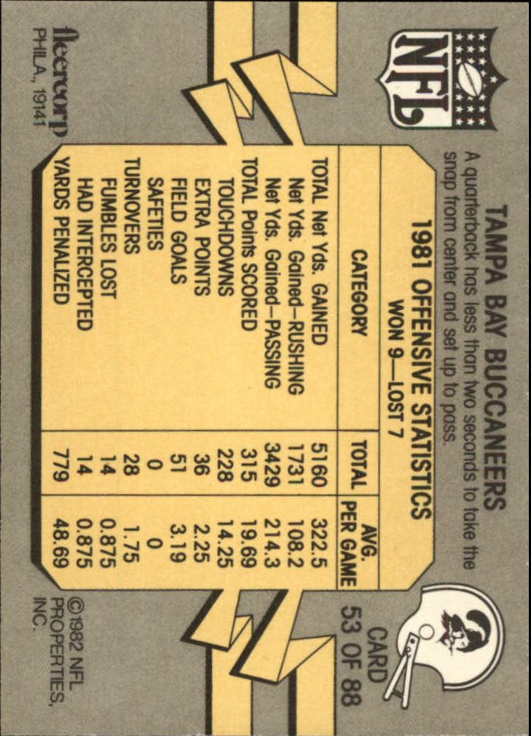 1982 Fleer Team Action #53 Tampa Bay Buccaneers back image