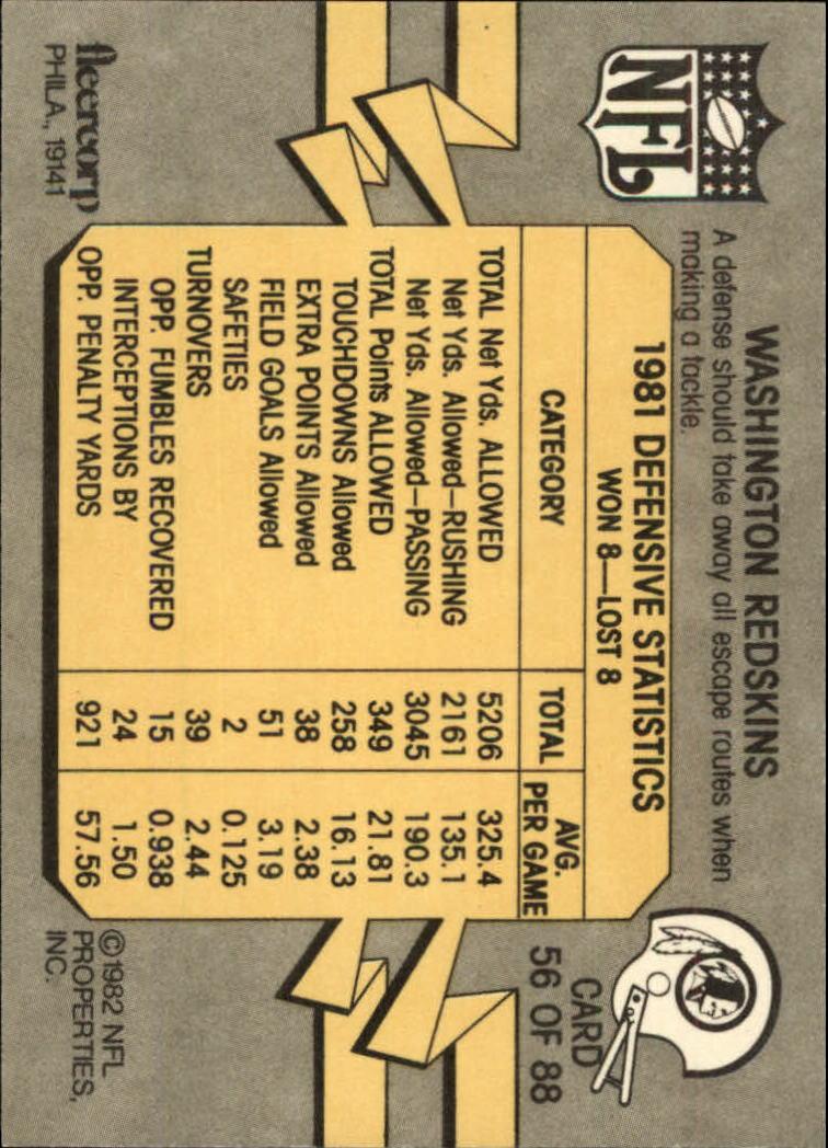 1982 Fleer Team Action #56 Washington Redskins back image