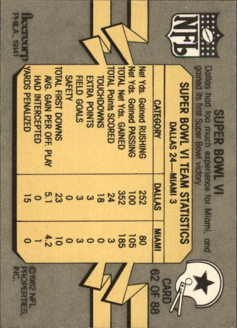 1982 Fleer Team Action #62 Super Bowl VI back image