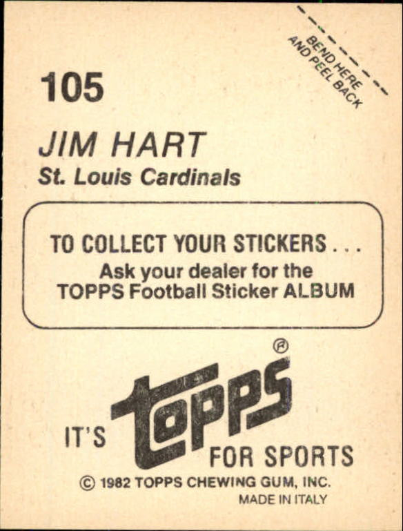 1982 Topps Stickers #105 Jim Hart back image