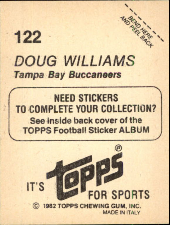 1982 Topps Stickers #122 Doug Williams back image