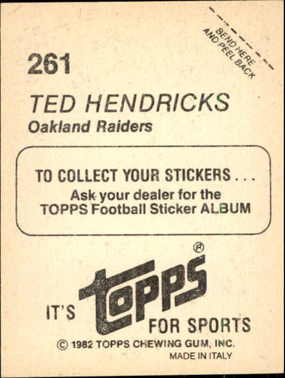 1982 Topps Stickers #261 Ted Hendricks back image
