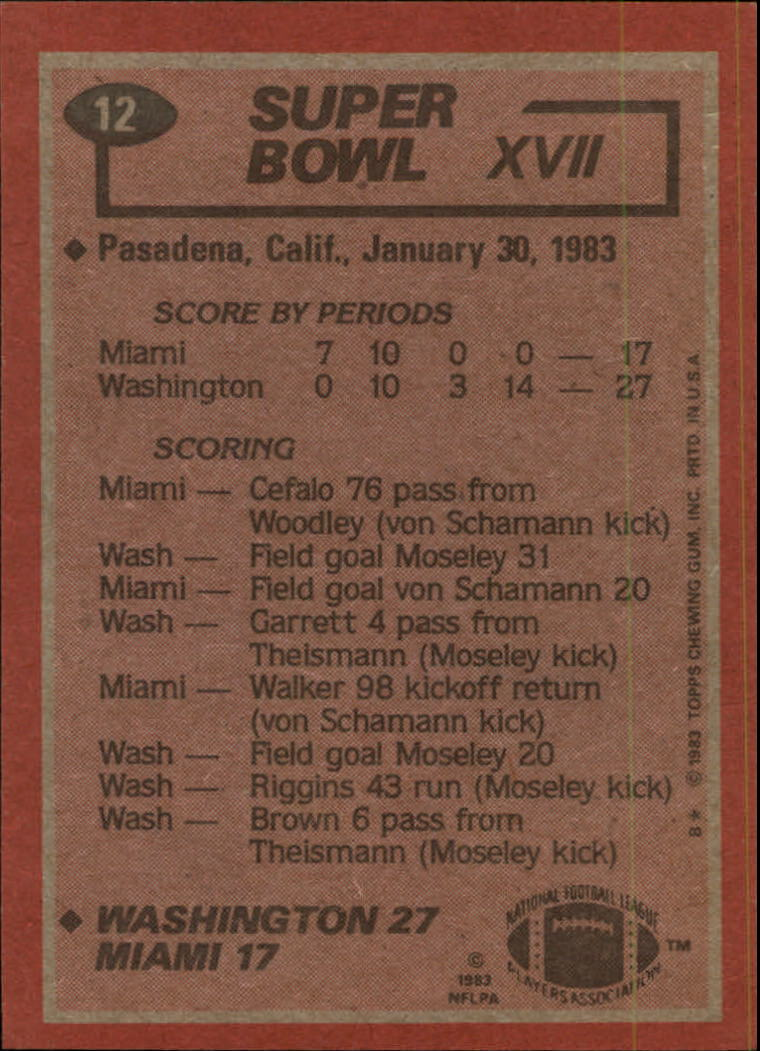 1983 Topps #12 Super Bowl XVII/Redskins 27,/Dolphins 17/(John Riggins running) back image