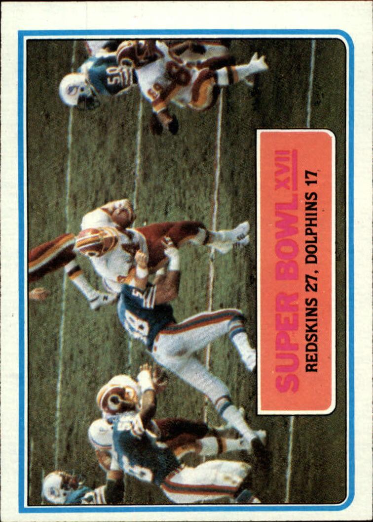 1983 Topps #12 Super Bowl XVII/Redskins 27,/Dolphins 17/(John Riggins running)