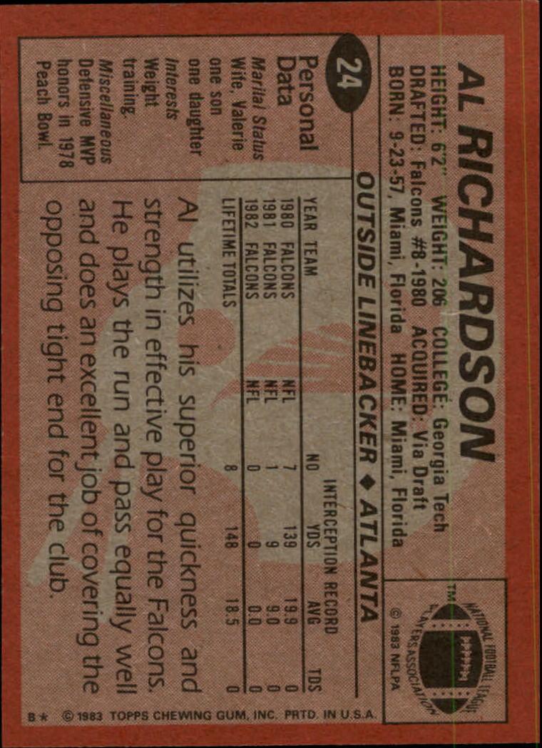 1983 Topps #24 Al Richardson back image