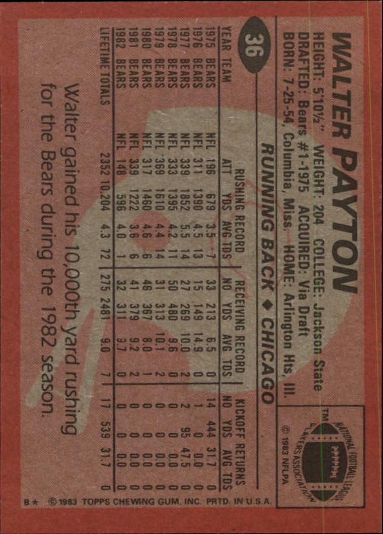 1983 Topps #36 Walter Payton back image