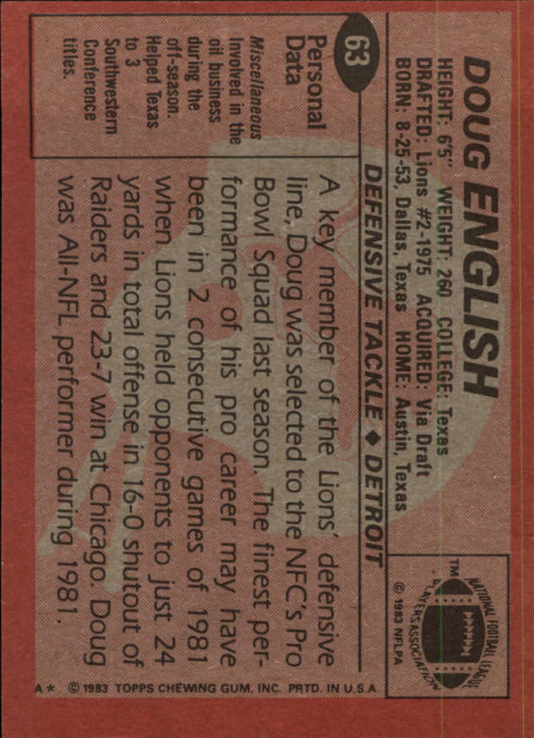 1983 Topps #63 Doug English back image