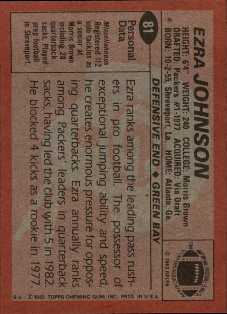 1983 Topps #81 Ezra Johnson back image