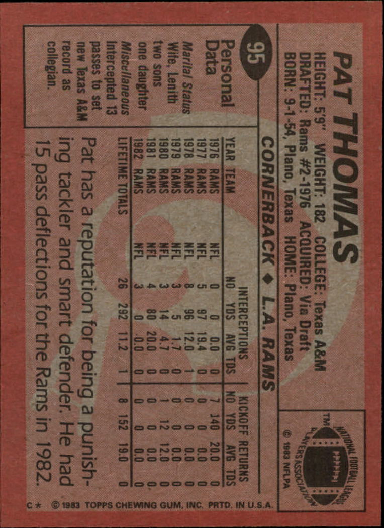 1983 Topps #95 Pat Thomas DP back image