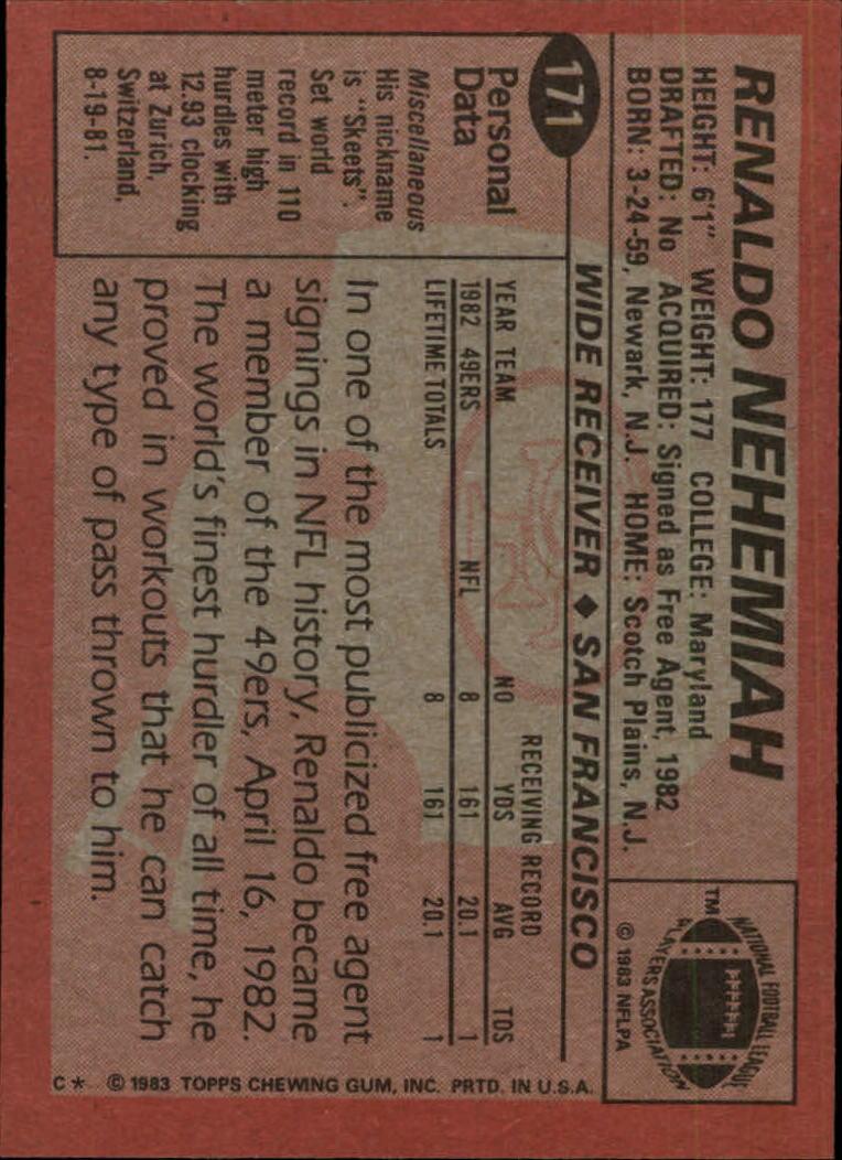 1983 Topps #171 R.Nehemiah DP RC back image