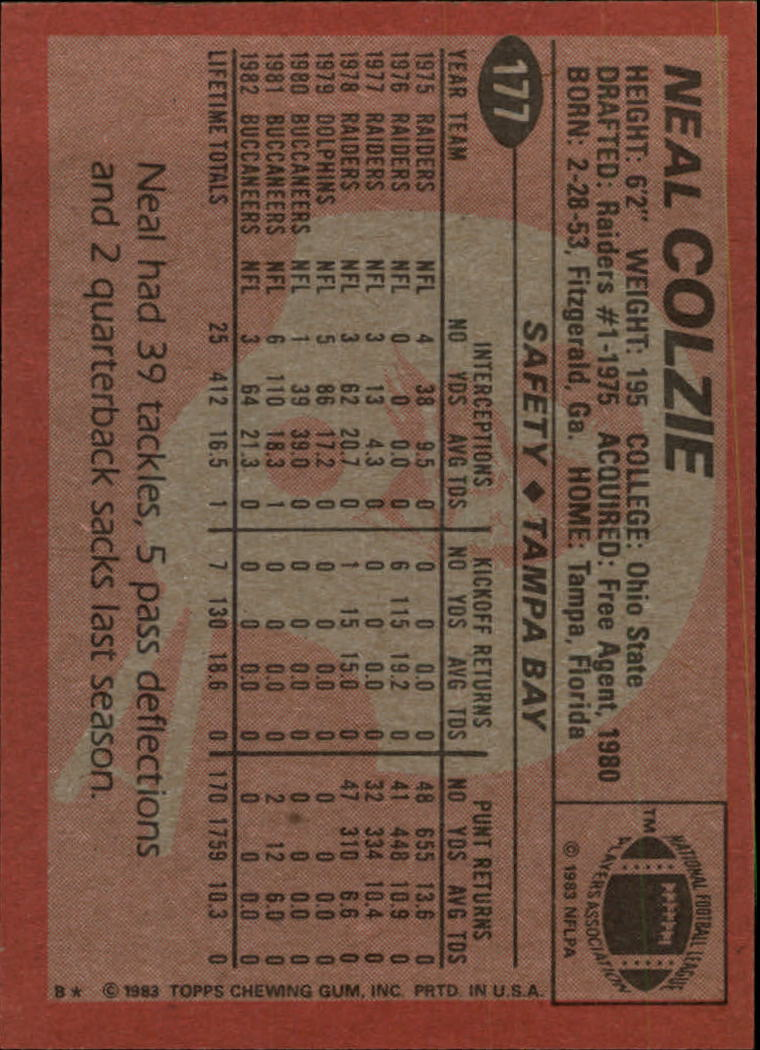 1983 Topps #177 Neal Colzie back image